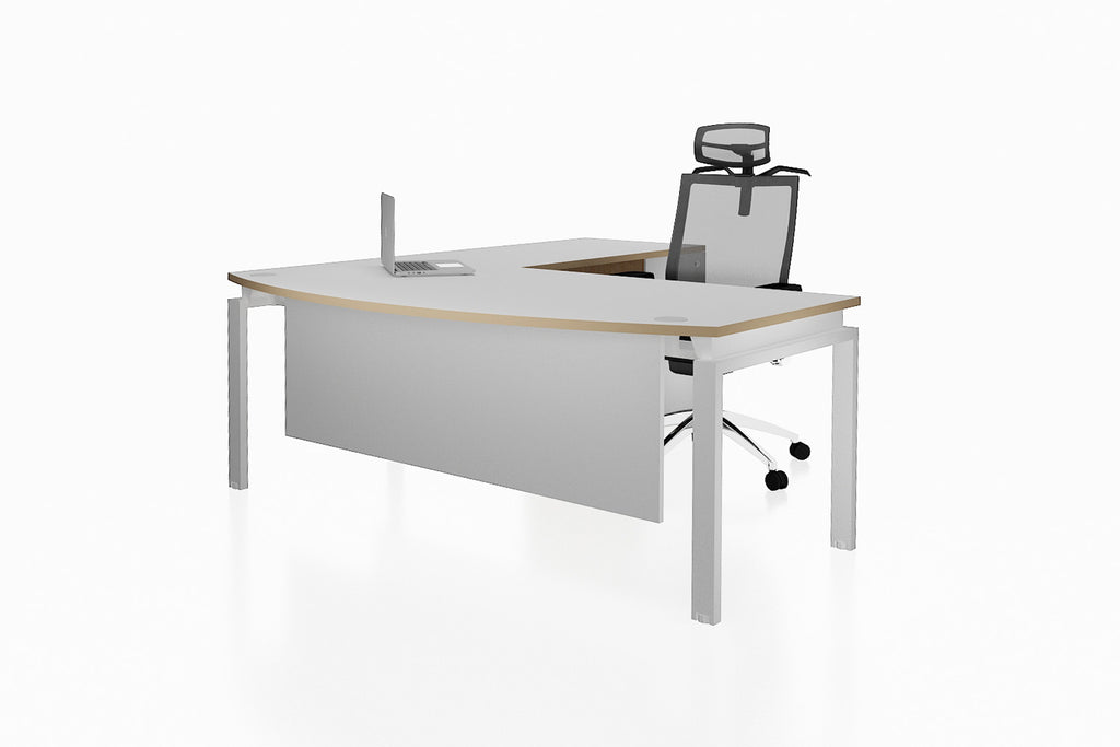 Benchwork Office Workstation Executive Table Desk with Fixed Pedestal and White Finishing Front Angled View