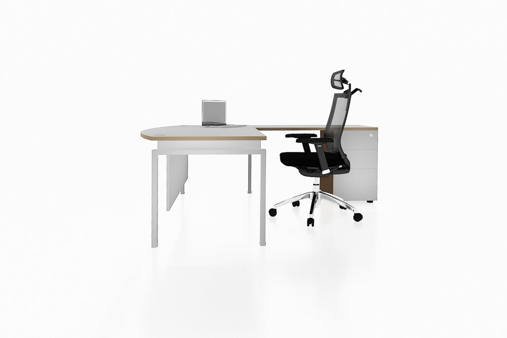 Benchwork Office Workstation Executive Table Desk with Fixed Pedestal and White Finishing Side View
