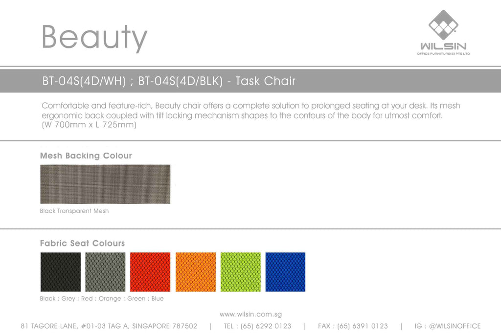 Fabric Seat Colours from Wilsin Office Furniture for Beauty Chair