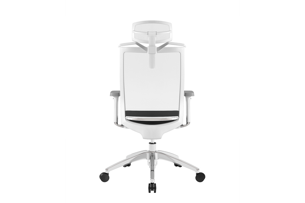 Beauty Office Task Chair with High Backrest and Headrest with Black Seat and Aluminium Base Back View