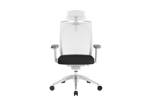 Beauty Office Task Chair with High Backrest and Headrest with Black Seat and Aluminium Base Front View