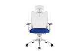 Beauty Office Task Chair with High Backrest and Headrest with Blue Seat and Aluminium Base Front View