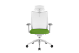 Beauty Office Task Chair with High Backrest and Headrest with Green Seat and Aluminium Base Front View