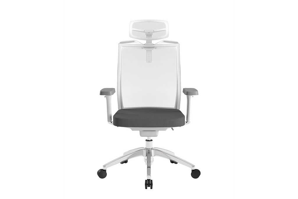 Beauty Office Task Chair with High Backrest and Headrest with Grey Seat and Aluminium Base Front View