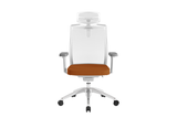 Beauty Office Task Chair with High Backrest and Headrest with Orange Seat and Aluminium Base Front View