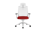 Beauty Office Task Chair with High Backrest and Headrest with Red Seat and Aluminium Base Front View