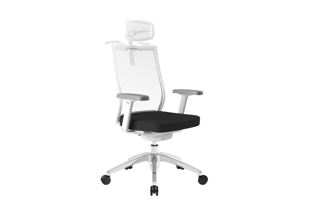Beauty Office Task Chair with High Backrest and Headrest with Black Seat and Aluminium Base Right Angled View