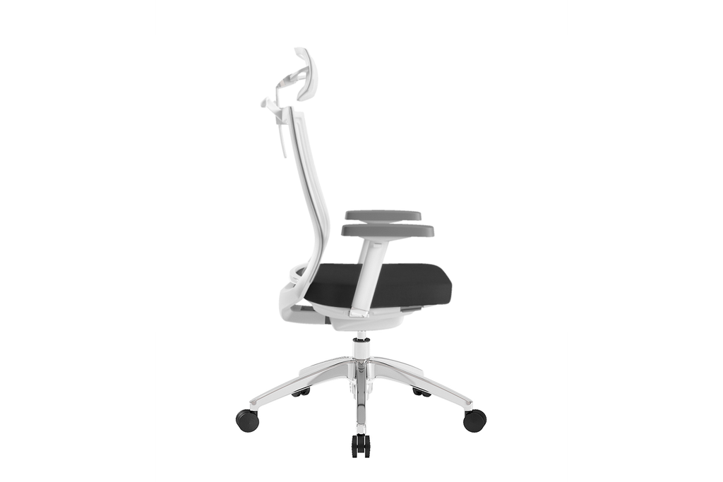 Beauty Office Task Chair with High Backrest and Headrest with Black Seat and Aluminium Base Right View