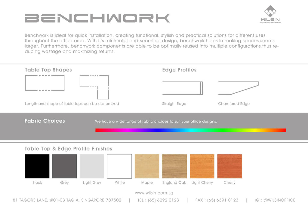 Table Top Finishes from Wilsin Office Furniture for Benchwork