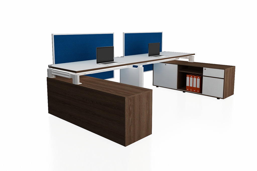 Deskspace Office Workstation Desk System Cluster of 2 with Full Fabric Screen Modesty Panel and Side Credenza with Radiwood Finishing