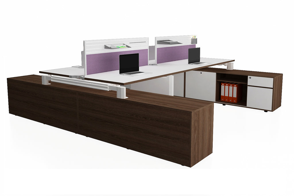 Deskspace Office Workstation Desk System Cluster of 4 with Aluminium Divider and Side Credenza with Radiwood Finishing