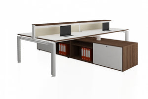 Deskspace Office Workstation Desk System Cluster of 4 with Low Opti Pole Counteriser and Structure Cabinet with Radiwood Finishing