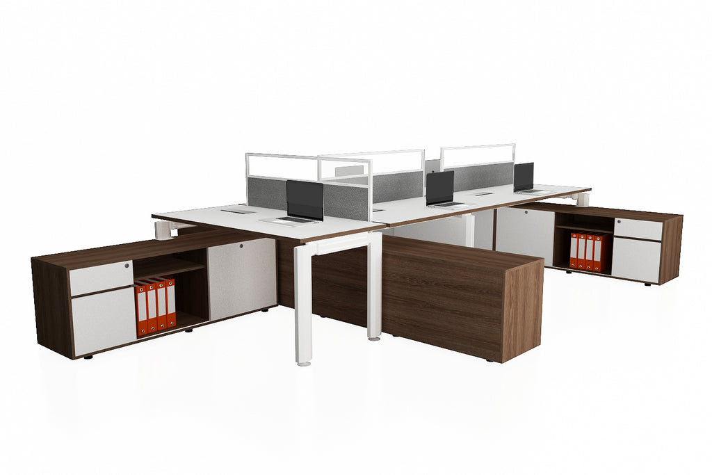 Deskspace Office Workstation Desk System Cluster of 5 with Half Glass Screen and Side Credenza with Flip Openings and Radiwood Finishing