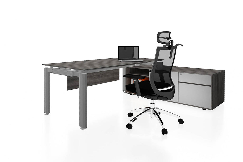 Deskspace Office Workstation Executive Table Desk with Side Credenza and Costa Grey Finishing Back Angled View