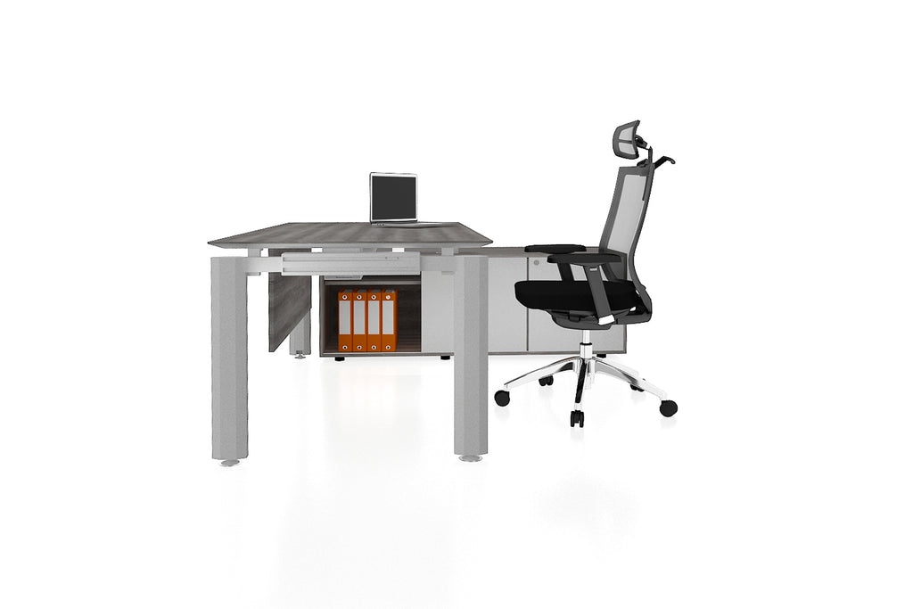 Deskspace Office Workstation Executive Table Desk with Side Credenza and Costa Grey Finishing Side View