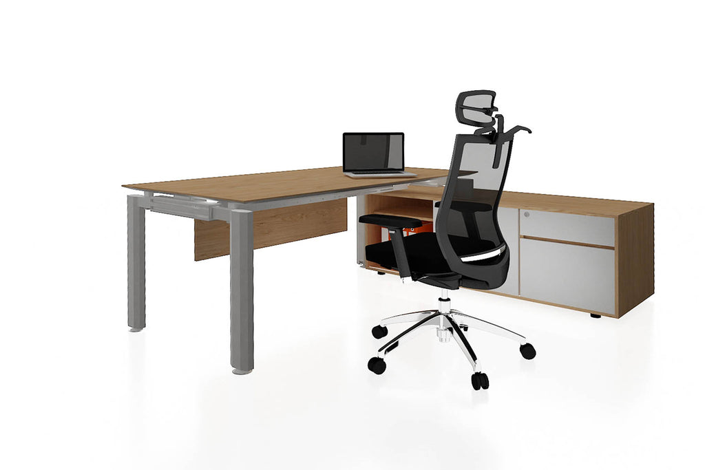 Deskspace Office Workstation Executive Table Desk with Side Credenza and England Oak Finishing Back Angled View