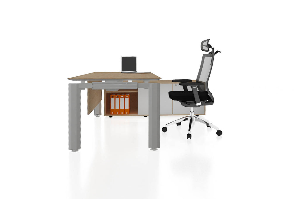 Deskspace Office Workstation Executive Table Desk with Side Credenza and England Oak Finishing Side View