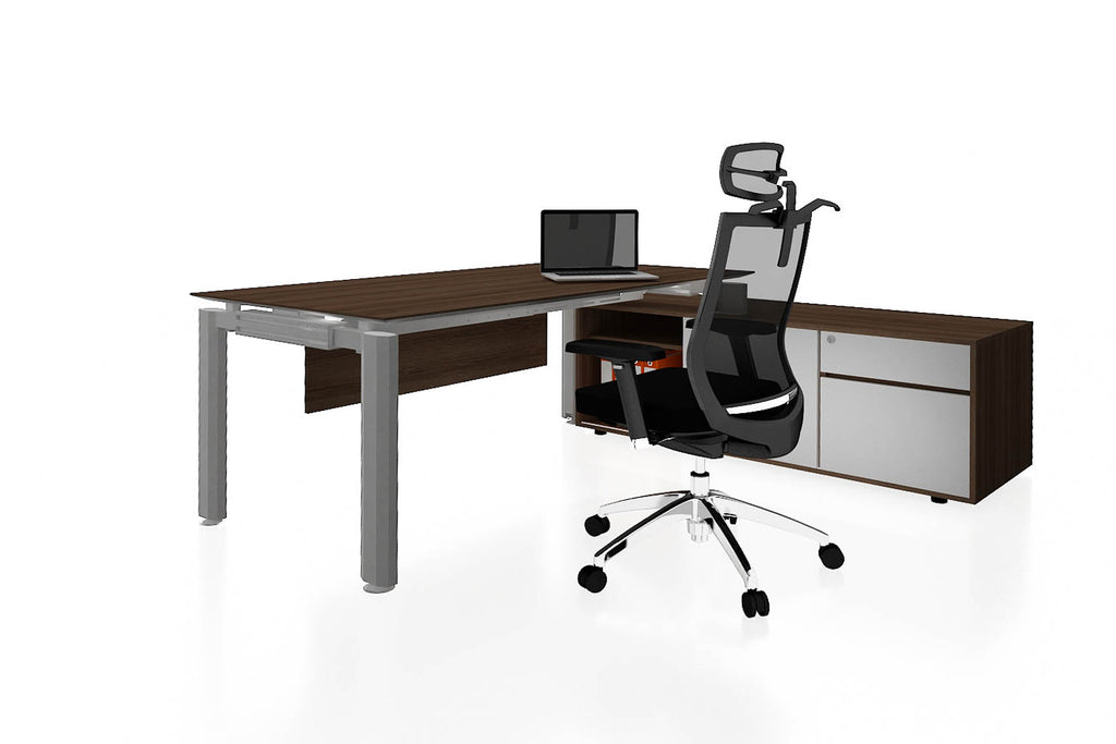 Deskspace Office Workstation Executive Table Desk with Side Credenza and Radiwood Finishing Back Angled View