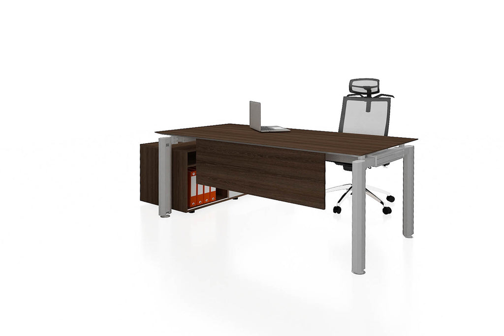 Deskspace Office Workstation Executive Table Desk with Side Credenza and Radiwood Finishing Front Angled View