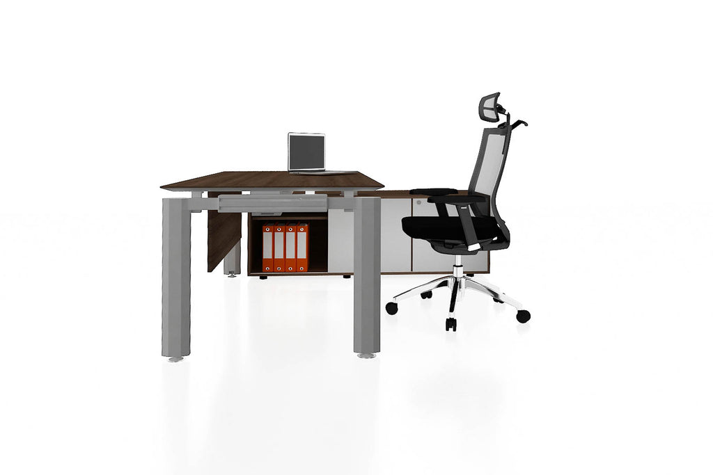 Deskspace Office Workstation Executive Table Desk with Side Credenza and Radiwood Finishing Side View
