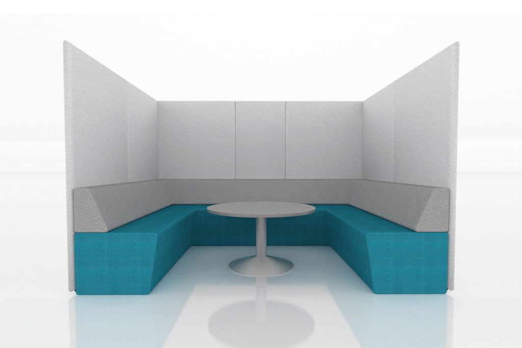 Domain Office Collaborative Discussion Pod with Blue Seatings and Grey Acoustics