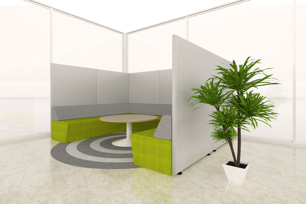 Domain Office Collaborative Discussion Pod with Green Seatings and Grey Acoustics