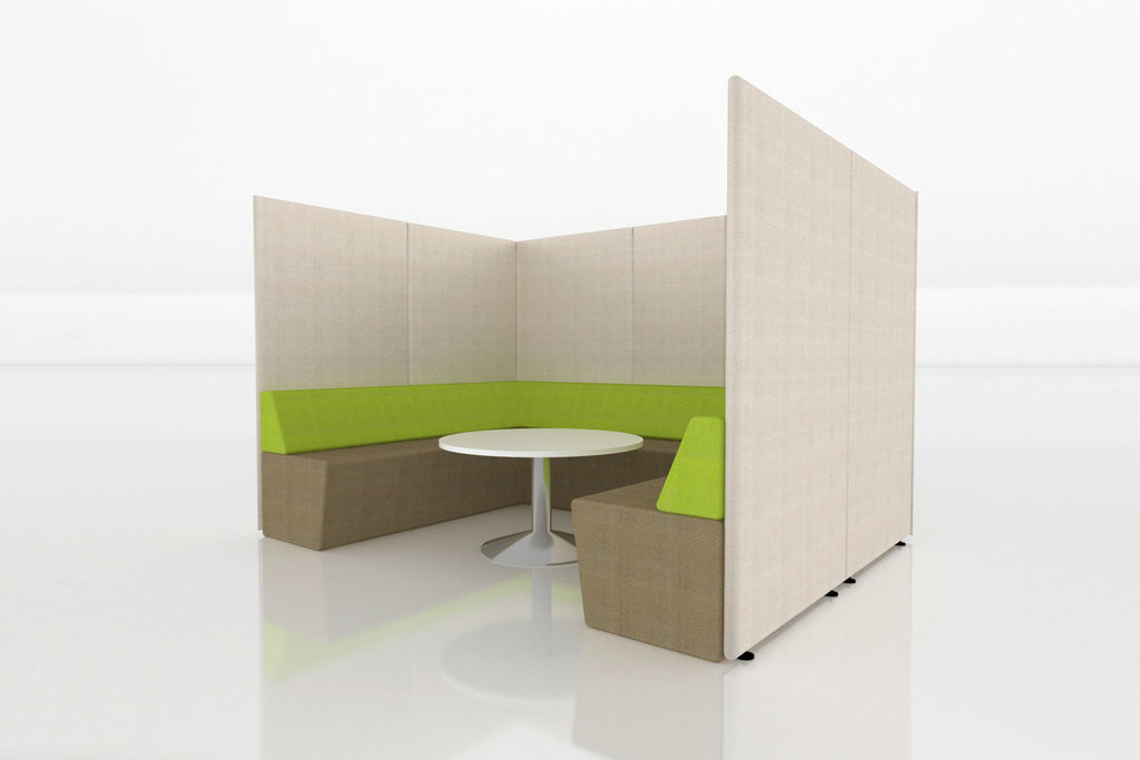 Domain Office Collaborative Discussion Pod with Brown Seatings and Beige Acoustics