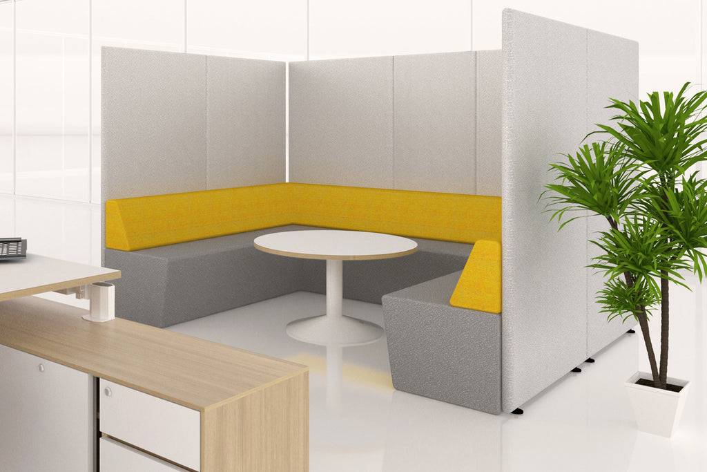 Domain Office Collaborative Discussion Pod with Yellow Seatings and Grey Acoustics