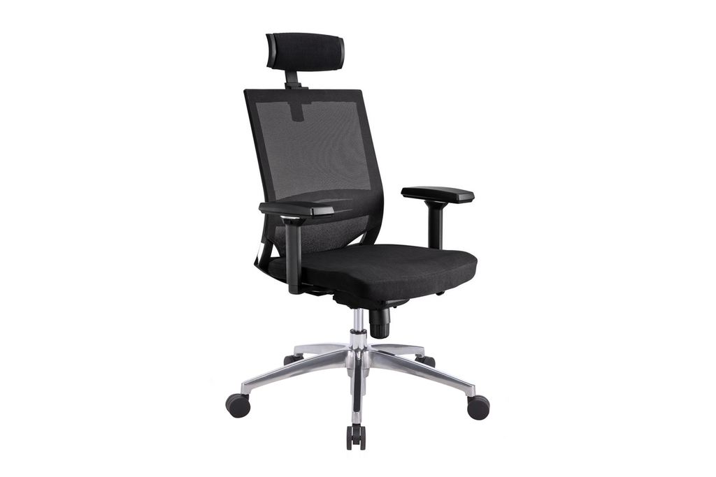 Ergomaster Orion Office Task Chair with High Backrest and Headrest with Black Seat and Aluminium Base Right Angled View