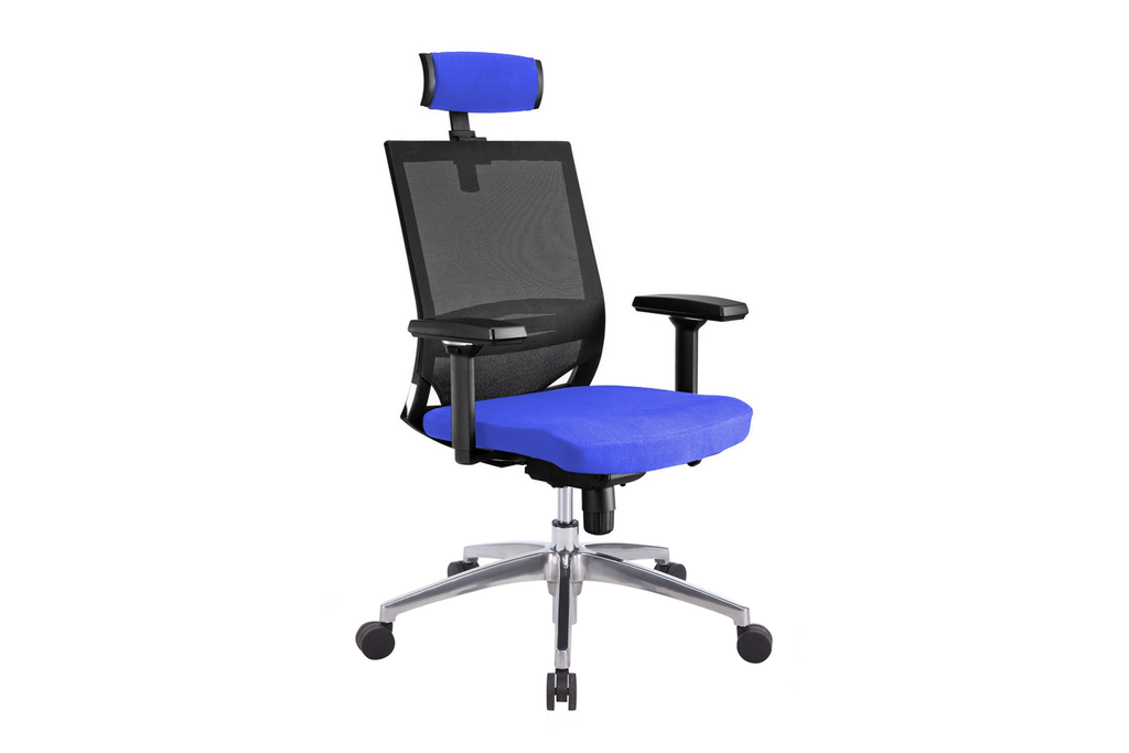 Ergomaster Orion Office Task Chair with High Backrest and Headrest with Blue Seat and Aluminium Base Right Angled View