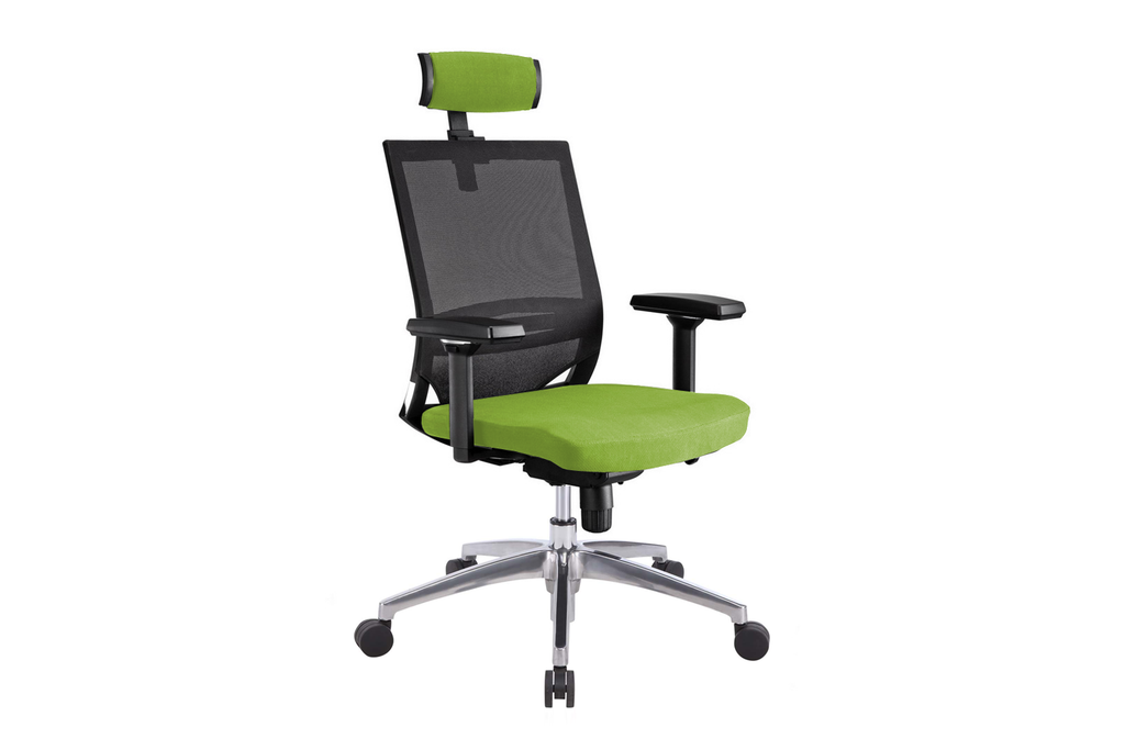 Ergomaster Orion Office Task Chair with High Backrest and Headrest with Green Seat and Aluminium Base Right Angled View