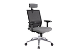 Ergomaster Orion Office Task Chair with High Backrest and Headrest with Grey Seat and Aluminium Base Right Angled View