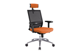 Ergomaster Orion Office Task Chair with High Backrest and Headrest with Orange Seat and Aluminium Base Right Angled View