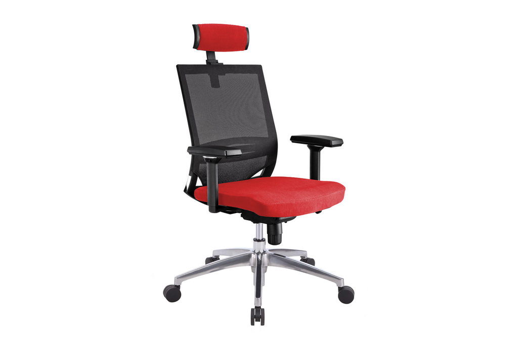 Ergomaster Orion Office Task Chair with High Backrest and Headrest with Red Seat and Aluminium Base Right Angled View
