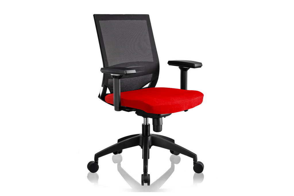 Ergomaster Orion Office Task Chair with Red Seat and Nylon Base Right Angled View