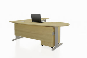 Framework Office Workstation Executive Table Desk Chiave Set with Maple Finishing Front Angled View