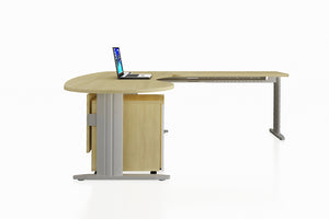 Framework Office Workstation Executive Table Desk Chiave Set with Maple Finishing Side View