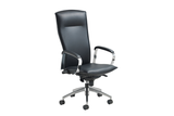 Hugo Office Executive Chair with Highback Backrest and Leather Upholstery and Aluminium Base with Casters Right Angled View