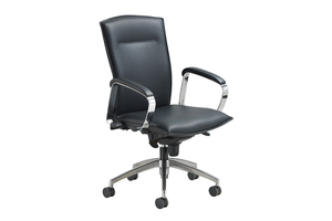 Hugo Office Executive Chair with Midback Backrest and Leather Upholstery and Aluminium Base with Casters Right Angled View