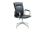 Hugo Office Executive Chair with Midback Backrest and Leather Upholstery and Aluminium Base with Swivel Right Angled View
