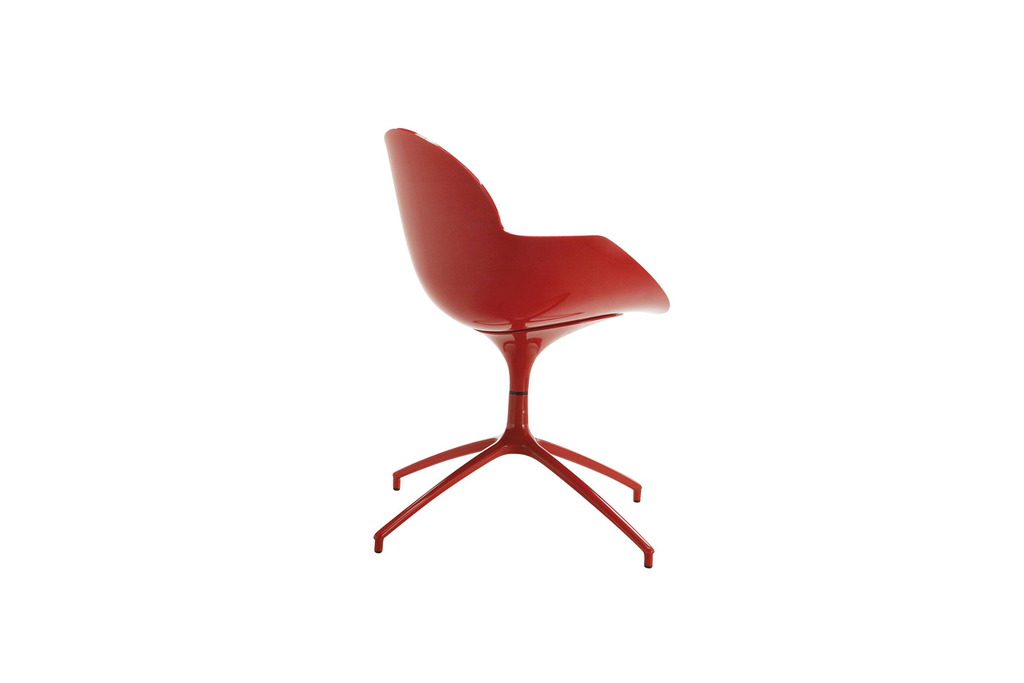 Infiniti Cookie Chair with Red Red Polypropylene Shell and Swivel Base