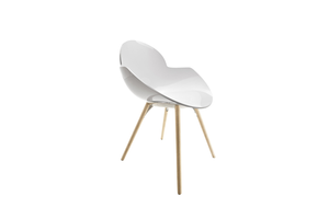 Infiniti Cookie Chair with White Polypropylene Shell and Wood Frame