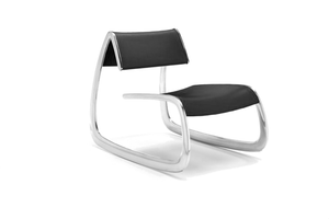 Infiniti G Chair with Polished Aluminium Base and Black Polyurethane Backrest