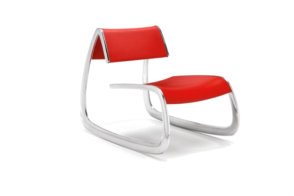 Infiniti G Chair with Polished Aluminium Base and Red Polyurethane Backrest