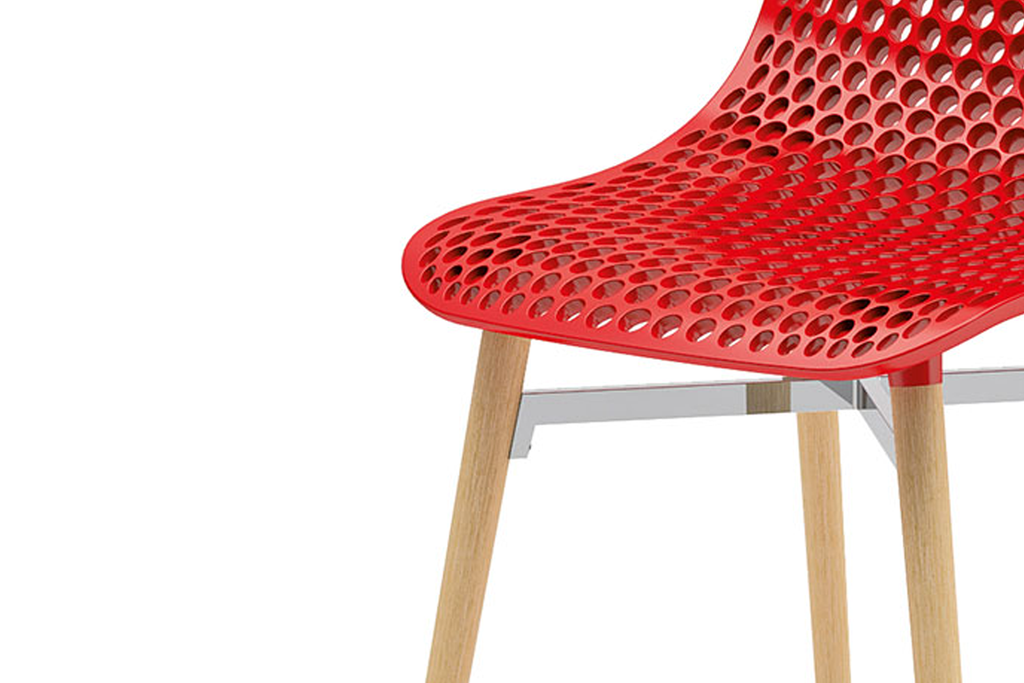 Infiniti Next Dining Chair with Red Ergonomic Polycarbonate Shell with Perforated Holes Designed by Andreas Ostwald Zoomed 2