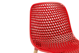 Infiniti Next Dining Chair with Red Ergonomic Polycarbonate Shell with Perforated Holes Designed by Andreas Ostwald Zoomed