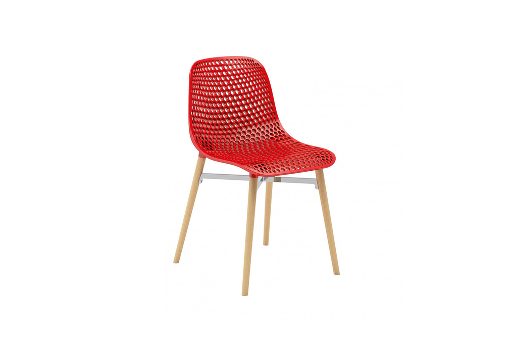 Infiniti Next Dining Chair with Red Ergonomic Polycarbonate Shell with Perforated Holes Designed by Andreas Ostwald