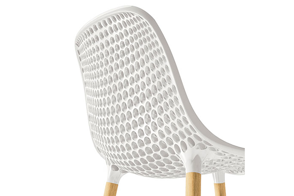 Infiniti Next Dining Chair with White Ergonomic Polycarbonate Shell with Perforated Holes Designed by Andreas Ostwald Zoomed