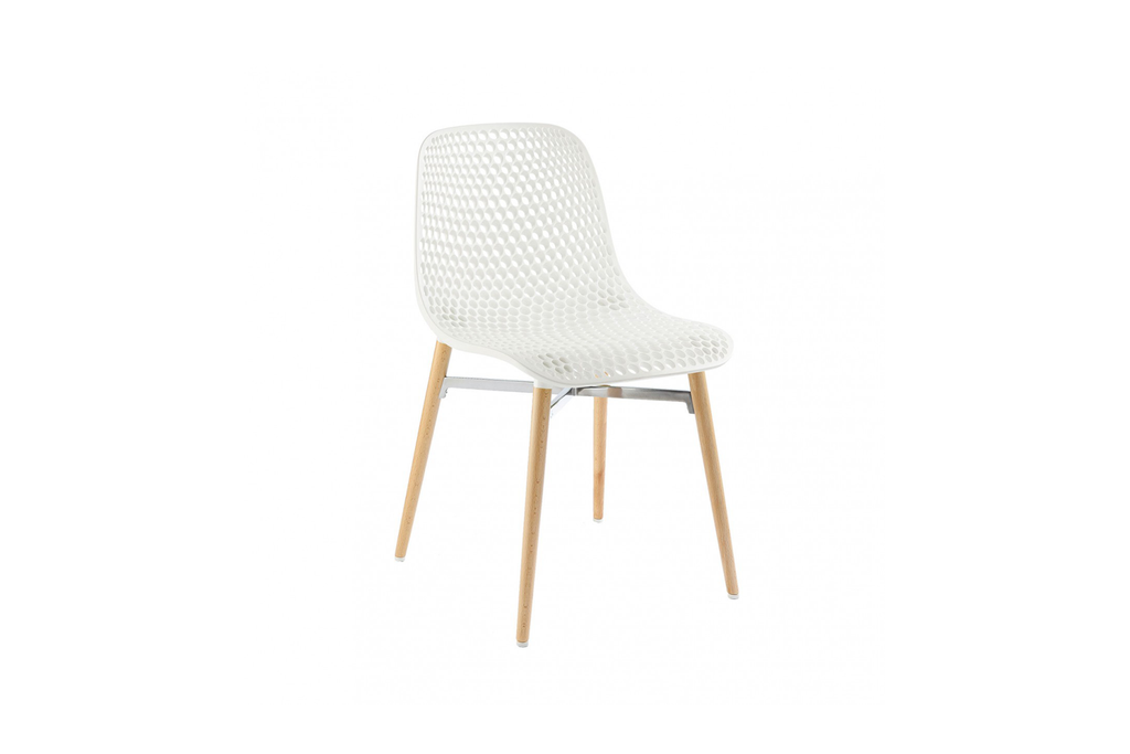 Infiniti Next Dining Chair with White Ergonomic Polycarbonate Shell with Perforated Holes Designed by Andreas Ostwald