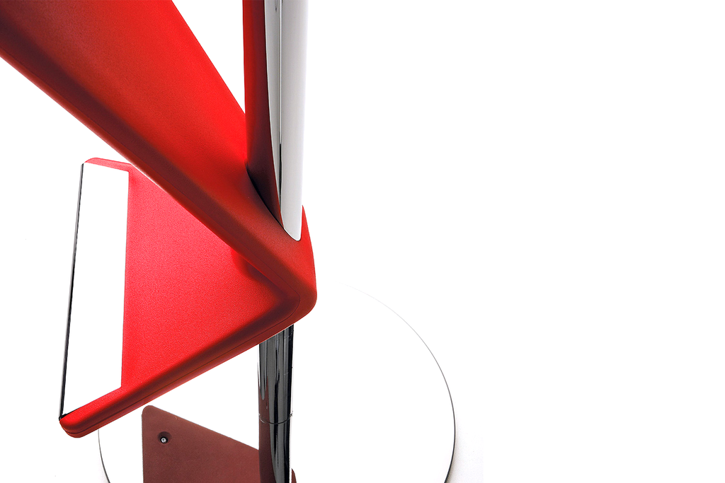Infiniti Zed Bar Stool with Chromium-plated Steel Base and Red Polyurethane Backrest Zoomed
